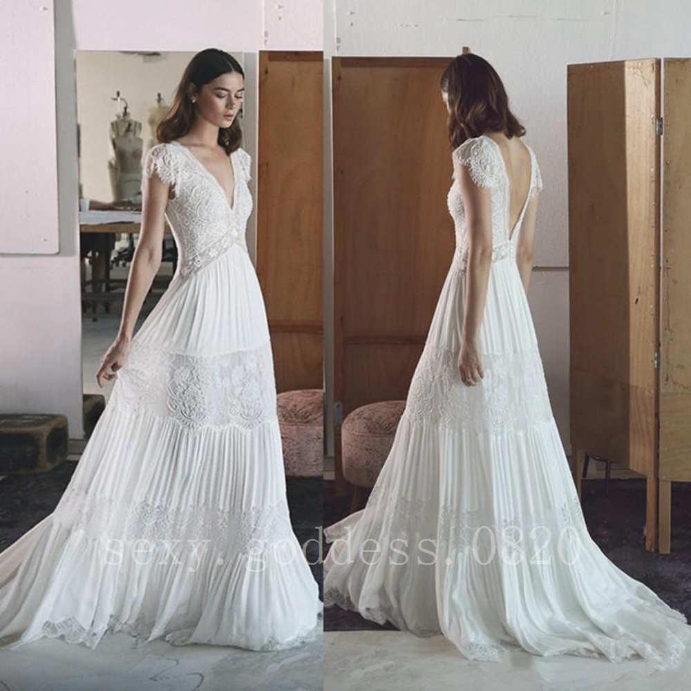 Romantic Bohemian Wedding Dresses.Details About Romantic Lace Boho Beach Wedding Dresses Cap Sleeve Bohemian Bridal Gowns 6 30