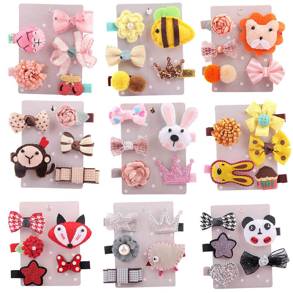 1 Set Girl Cute Cartoon Animal Fruit Hairpin Children Hair Clip Barrettes Kids