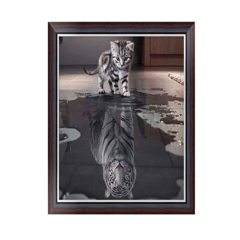 DIY 5D Diamond Painting Full Drill Inverted Cat Kitty Tiger Mirage Water Animal
