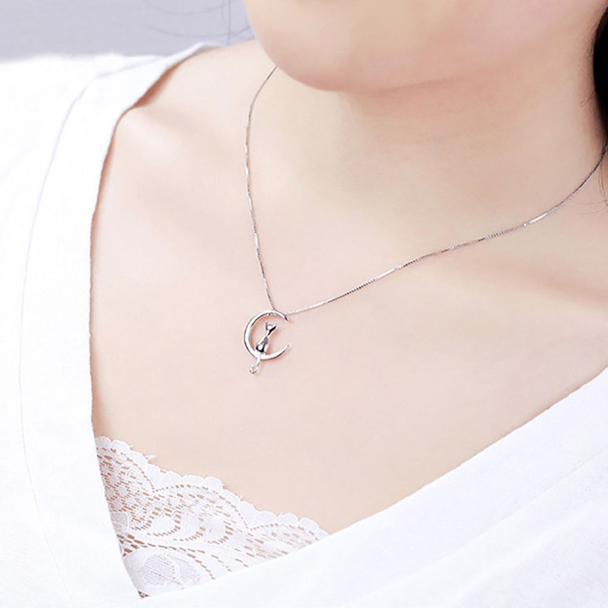 Hot Moon Cute Pet Cat Necklace Pendant Long Chain Jewelry Simple ...
