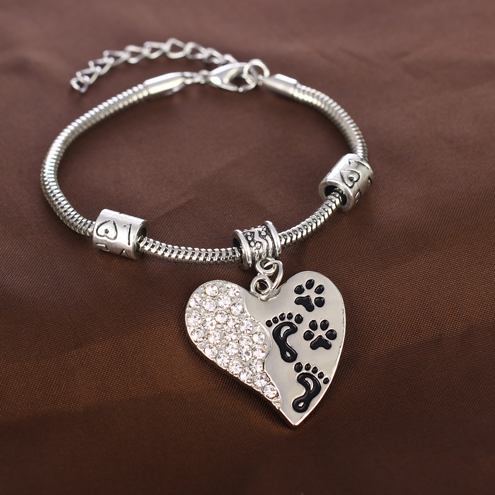 Memory bracelet dog cat pet loss silver charm pendants paw print memory bracelet dog cat pet loss silver charm aloadofball Image collections