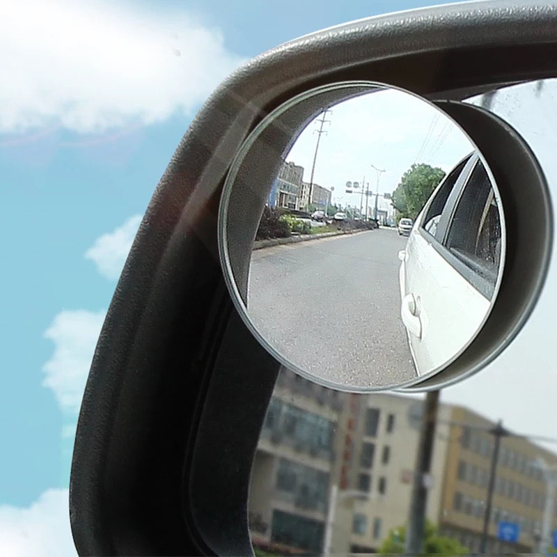 1pair Car Rearview Blind Spot Small Round Mirror 360 Angle Adjule