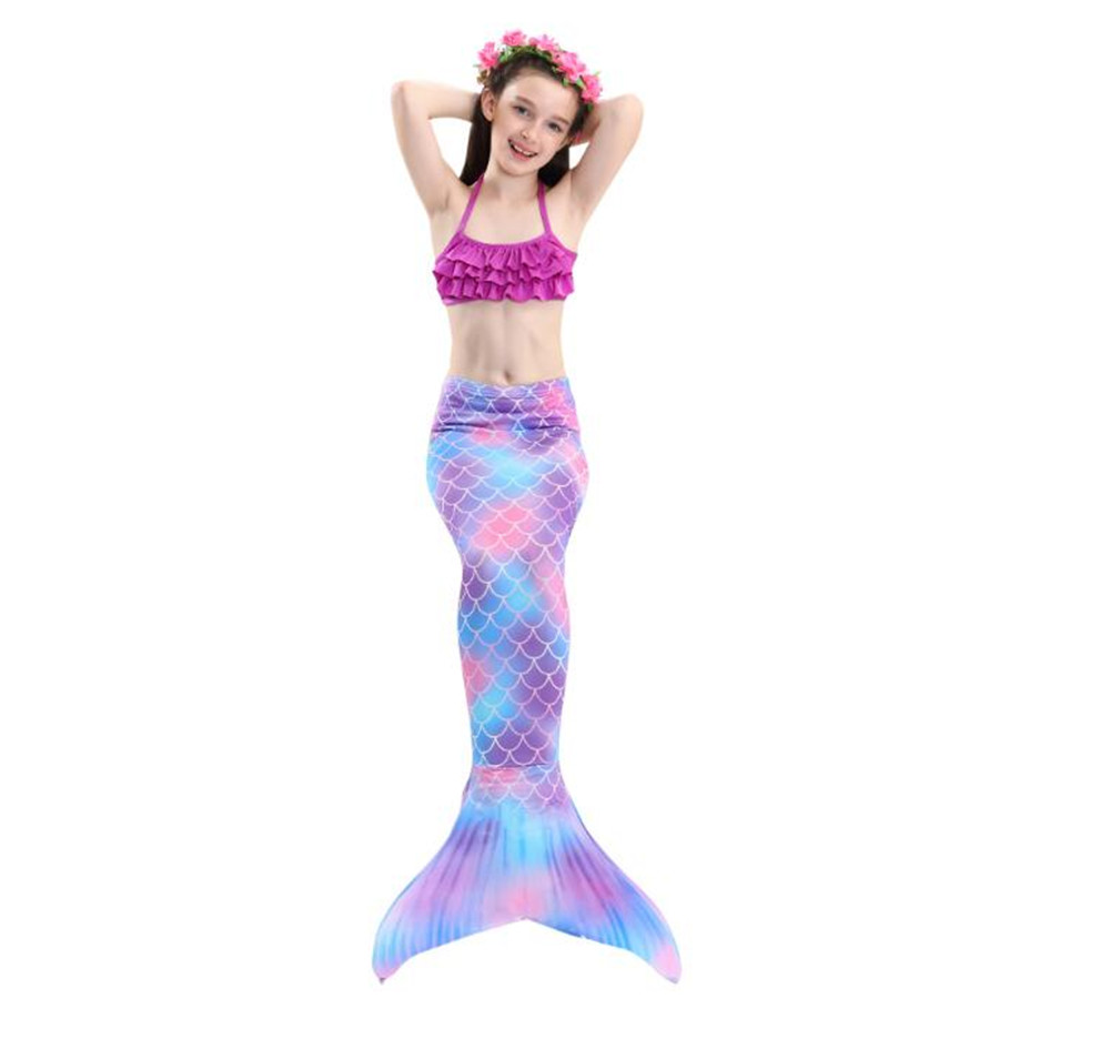 Girl mermaid tail monofin swimmable bathing suit party pool costume PURPLE