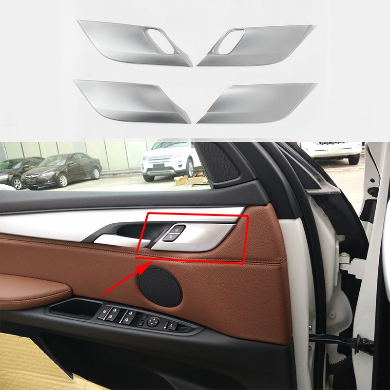 ABS Matte Interior Door Lock Pins Cover Trim 4pcs For BMW X5 F15 2014-2017