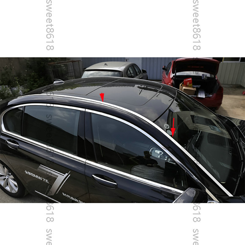 4x Stainless Roof Top Channel Molding Kit Cover Trim For BMW 7 Series G12 16-18