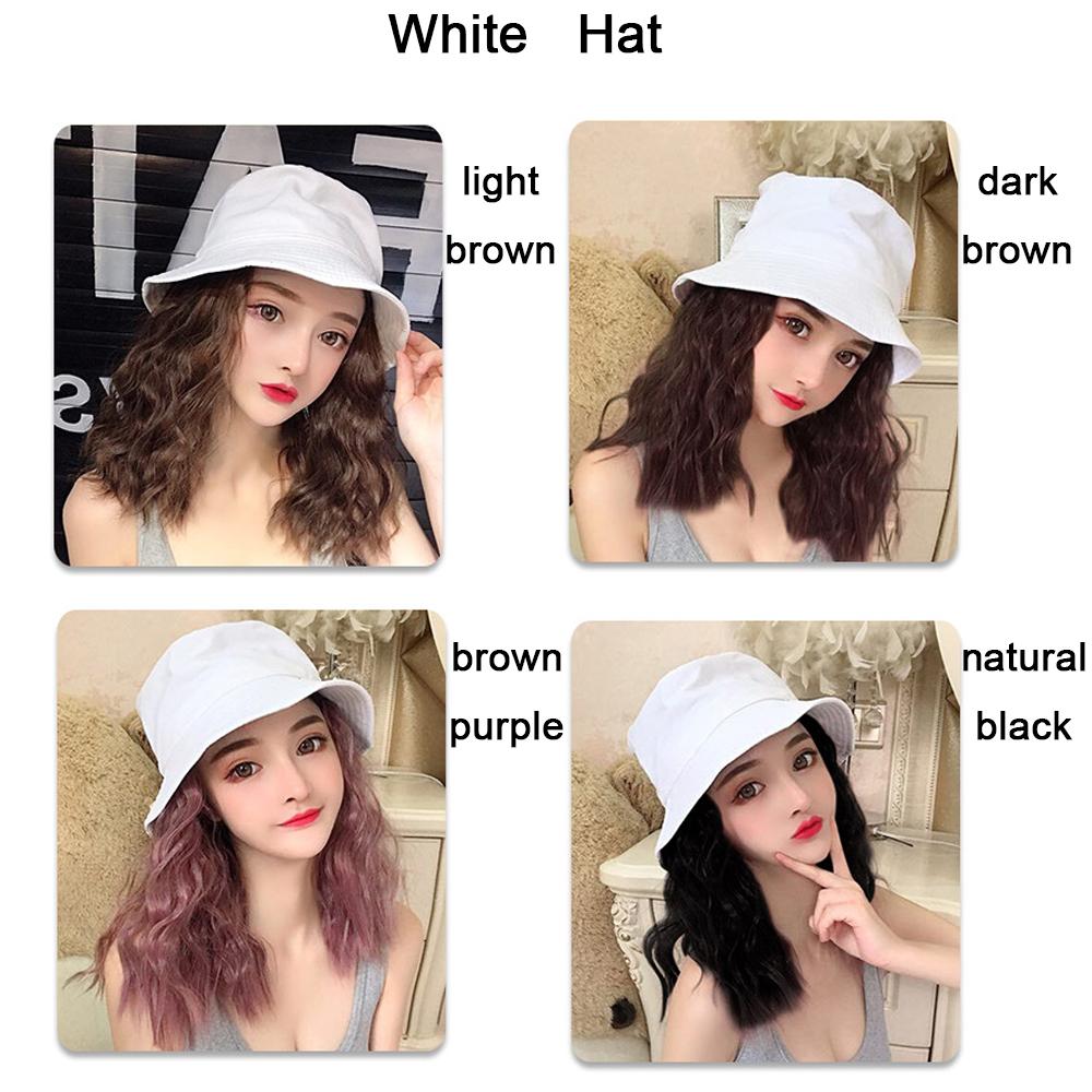 2019 New Bucket Hat With Hair Women Girls Short Curly Hair Hat Caps Chic Wig Hat Ebay
