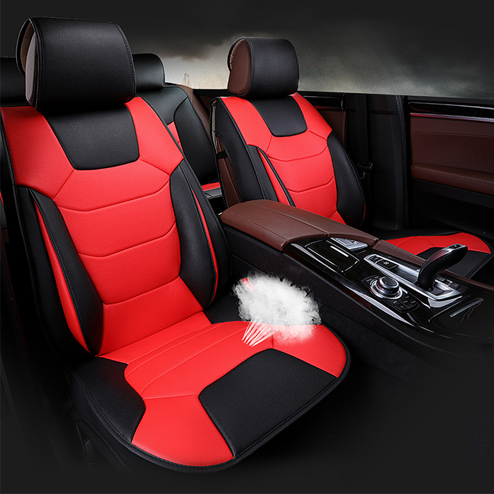 5 Seats Mircrofiber Leather Car Seat Cover Front Rear W Pillows
