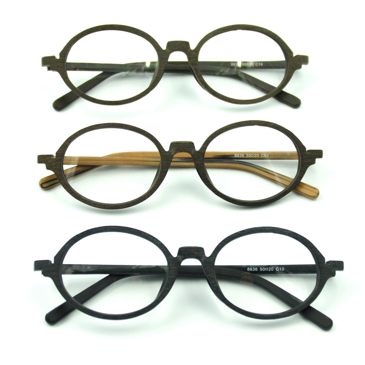 Vintage Antique Acetate Wood Oval Eyeglasses Frame RX Spectacles ...
