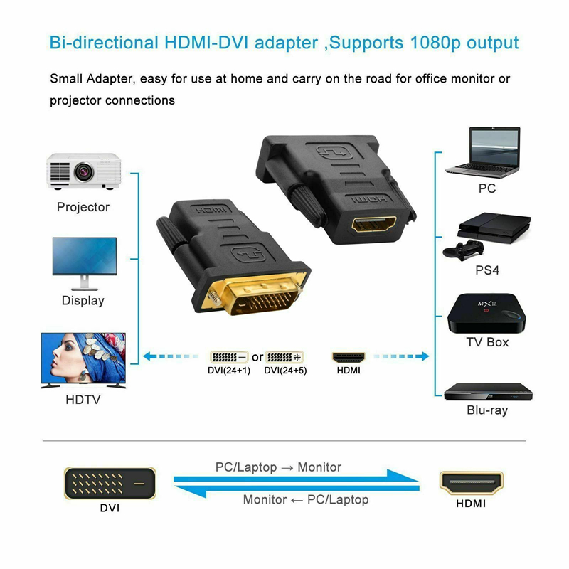 HDMI Female To DVI-D Male 24+1 Pin Cable Converter Adapter For PC TV Monitor