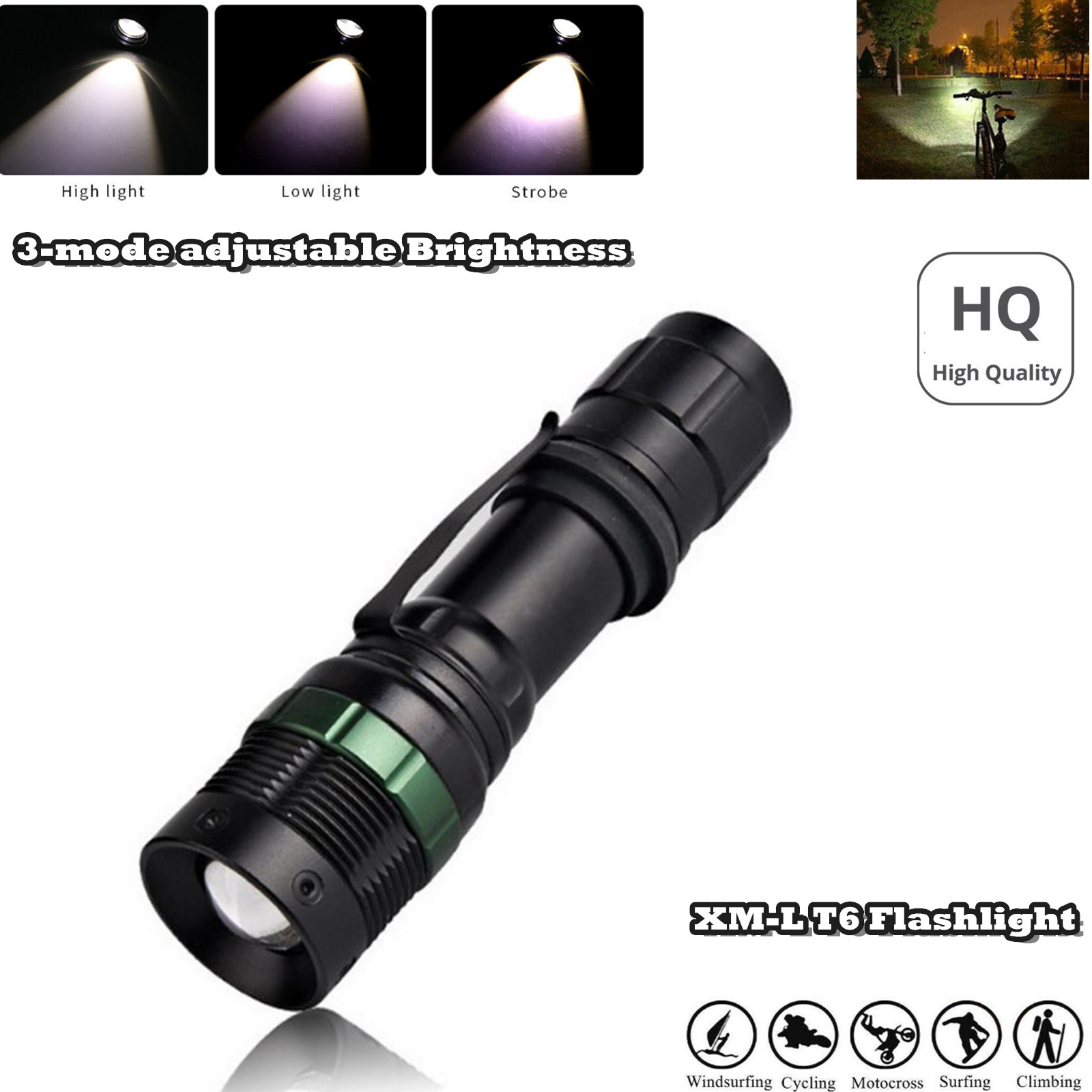 6000 Lumen Ultrafire XM-L T6 Zoomable Tactical LED Flashlight Torch Lamp US