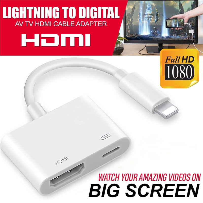 Lightning to Digital TV HDMI Cable Adapter For Ipad air iphone 7 7Plus 8 X Si