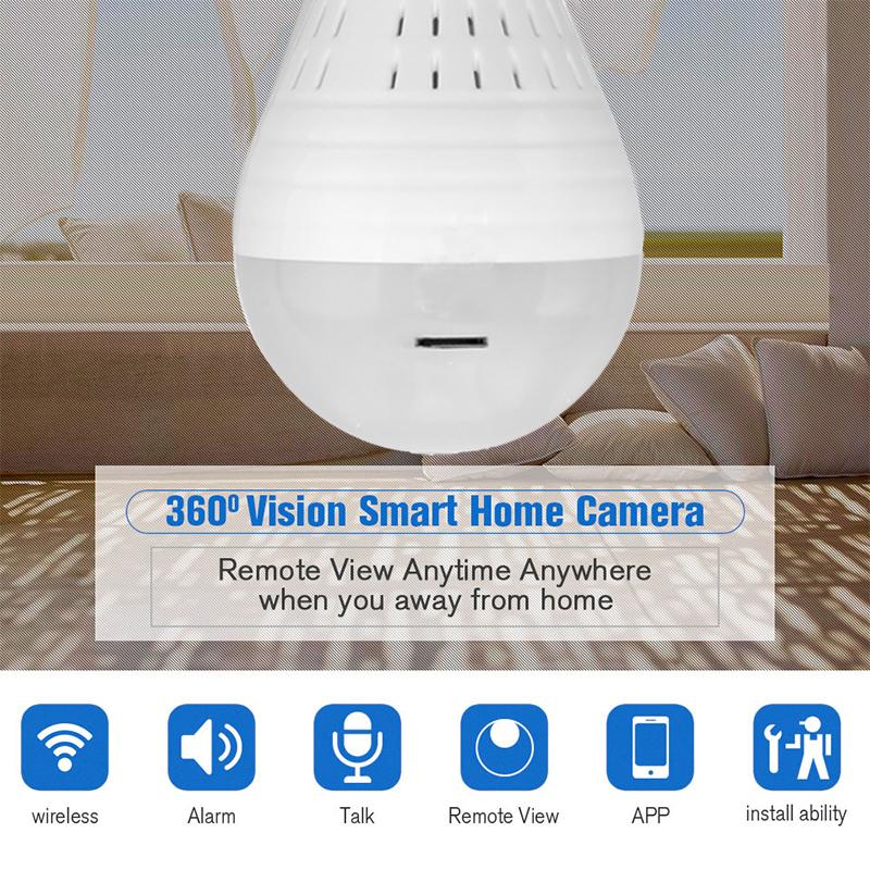 360° Panoramic HD Hidden Fish Eye Wifi Camera LED Light Bulb IR