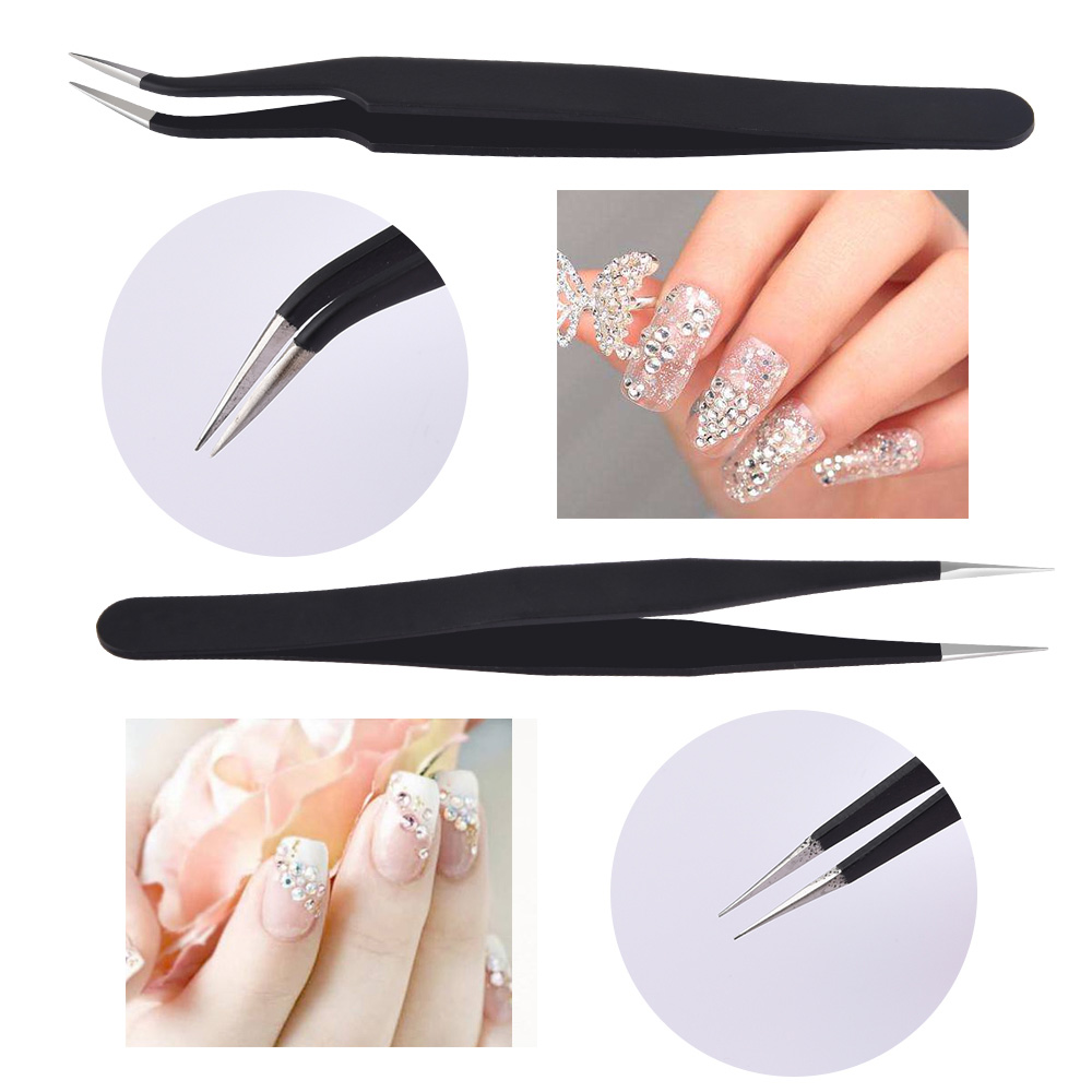 2X STRAIGHT CURVED NAIL MANICURE TWEEZERS FOR CRAFTS NAIL ART ...