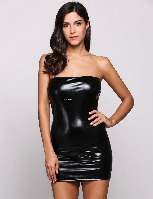 New Y Strapless Mini Dress Faux Leather Bodycon Wet Look Pvc Dance Clubwear