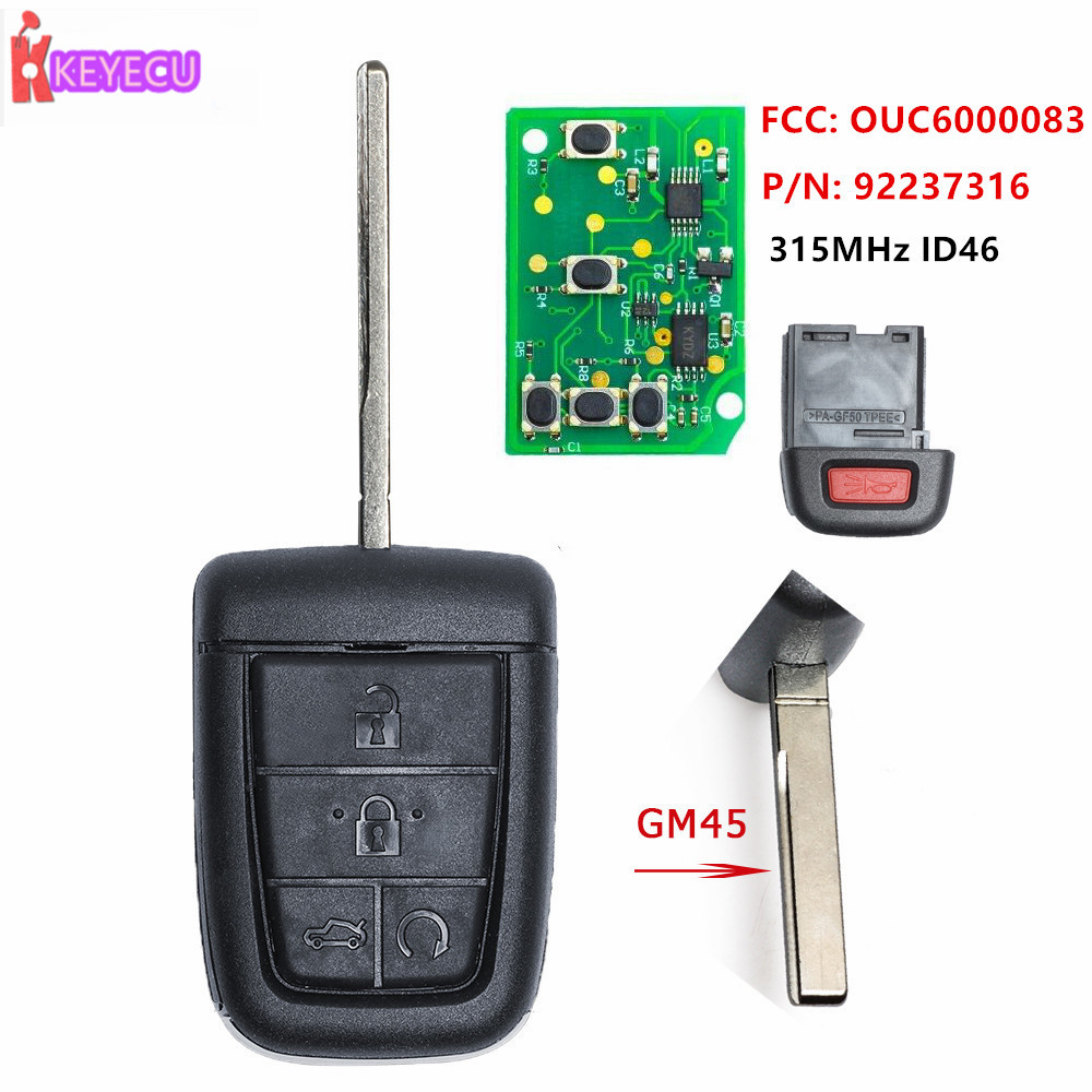 2 For Pontiac OUC6000083 Keyless Entry Remote Car Key Fob Control