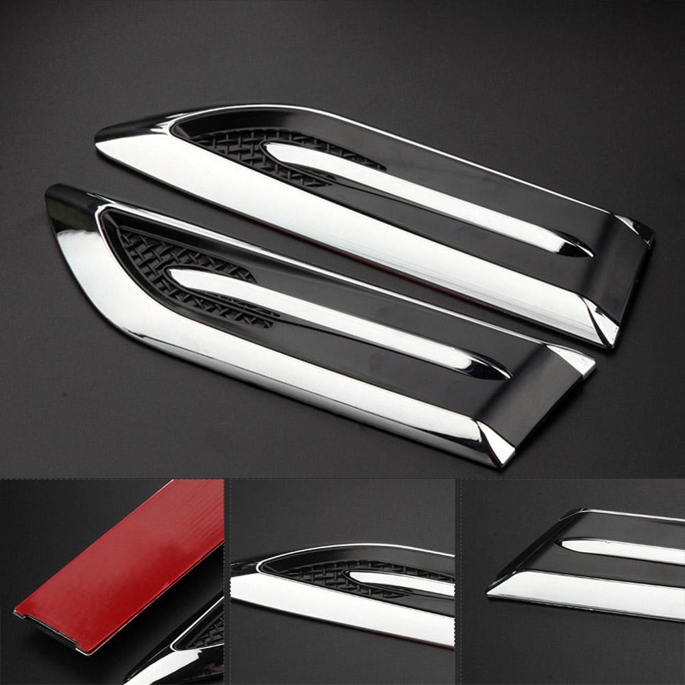 2pc Car 3D Shark Gills Side Air Vent Flow Decal Sticker Set For BMW BENZ VW AUDI