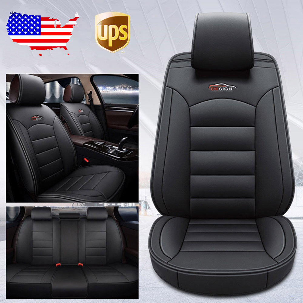 US Auto Car 5-Seat Leather Seat Covers Front+Rear For