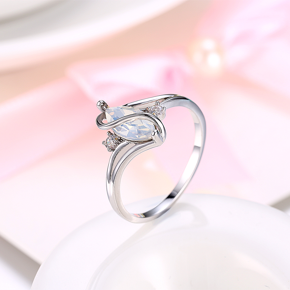 Fashion Women S Shape Platinum Plating Ring Crystal Opal Wedding ...
