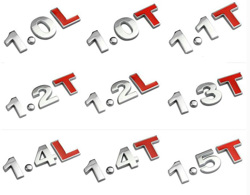 Chrome Red Metal  2.0T 2.4L Car Sticker 1.0T 1.8T 3.0L Auto Rear Decal Emblem