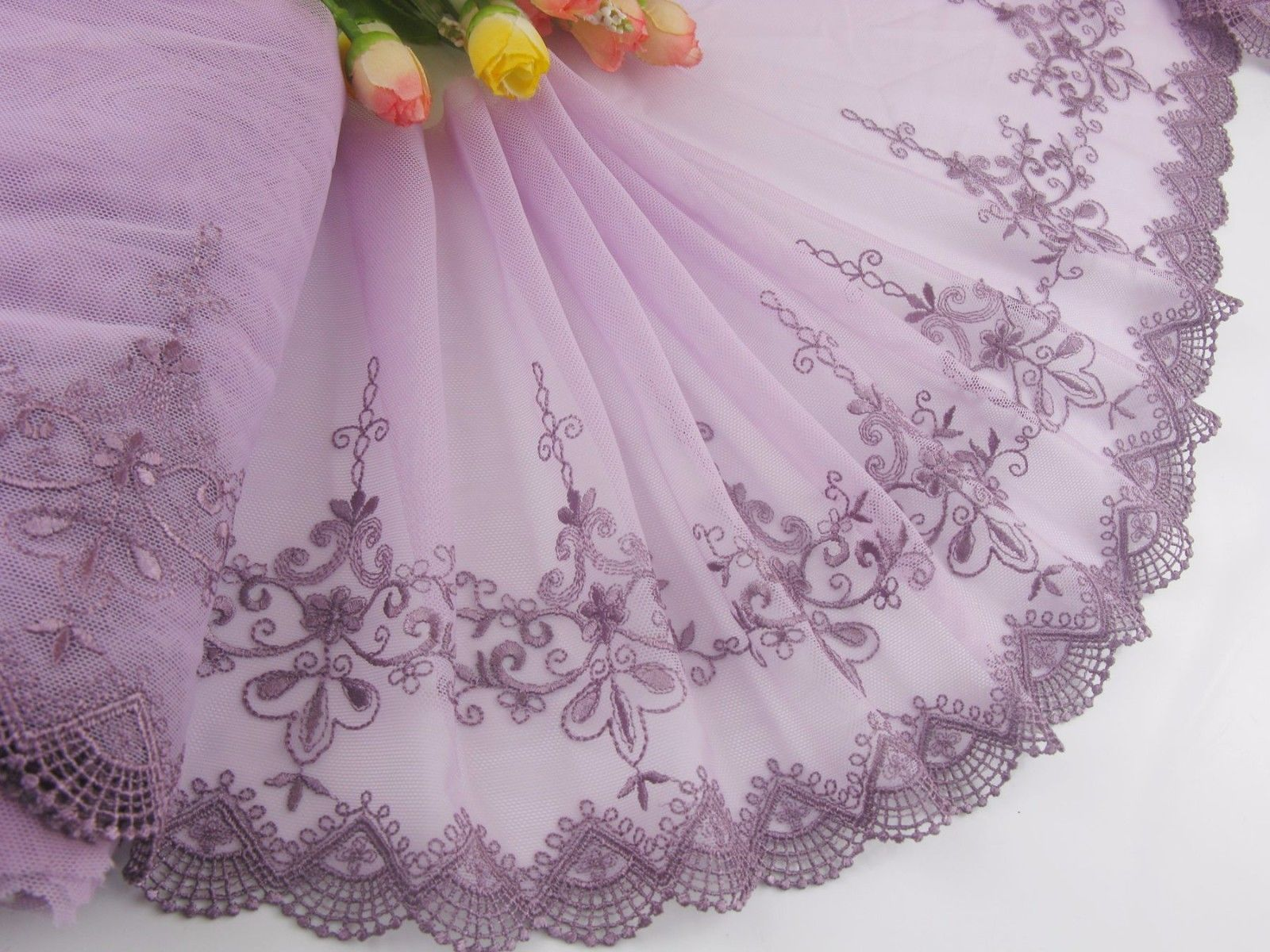 "Delicate 8""*1 Yard  Purple Embroidered Flower Tulle Lace trim sewing//DIY 487"