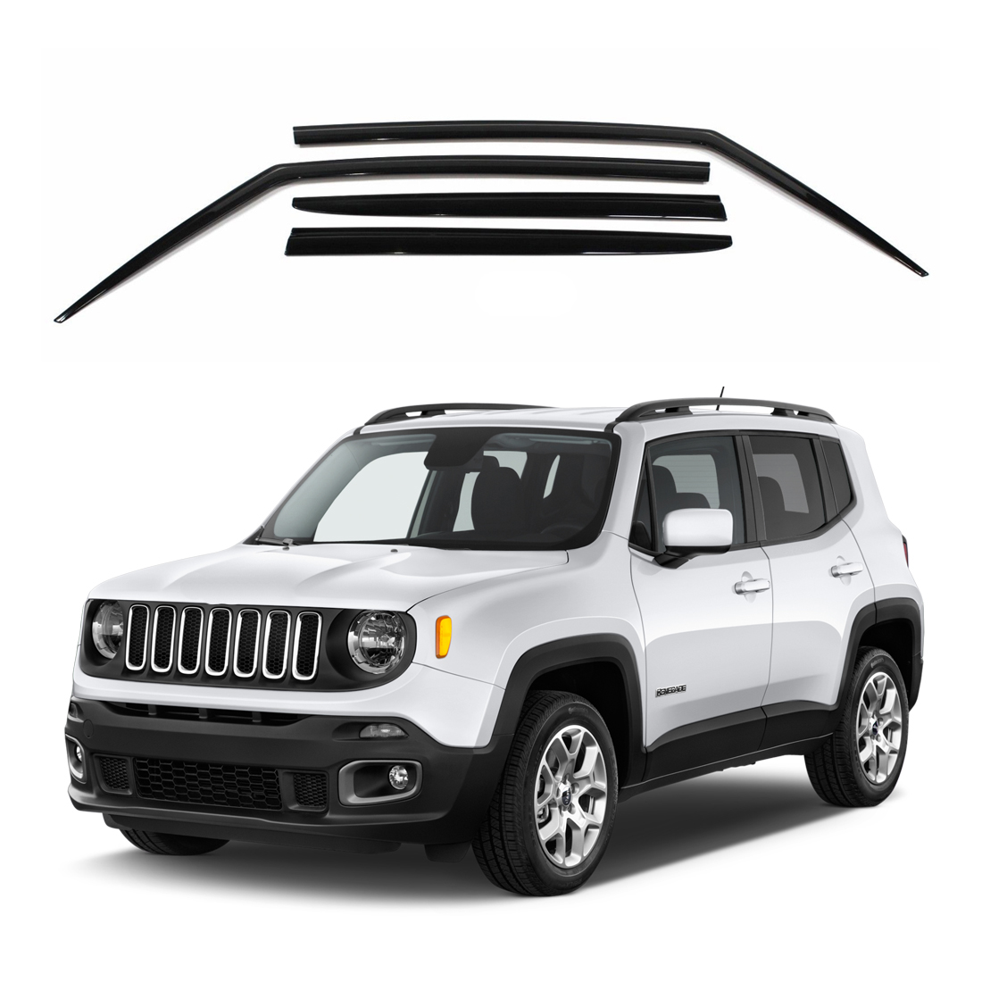Safe RAIN Out-Channel Deflector AUTOCLOVER Dark Smoke Side Window Vent Visor 4 Piece Set for Jeep Renegade 2015 2016 2017 2018 2019