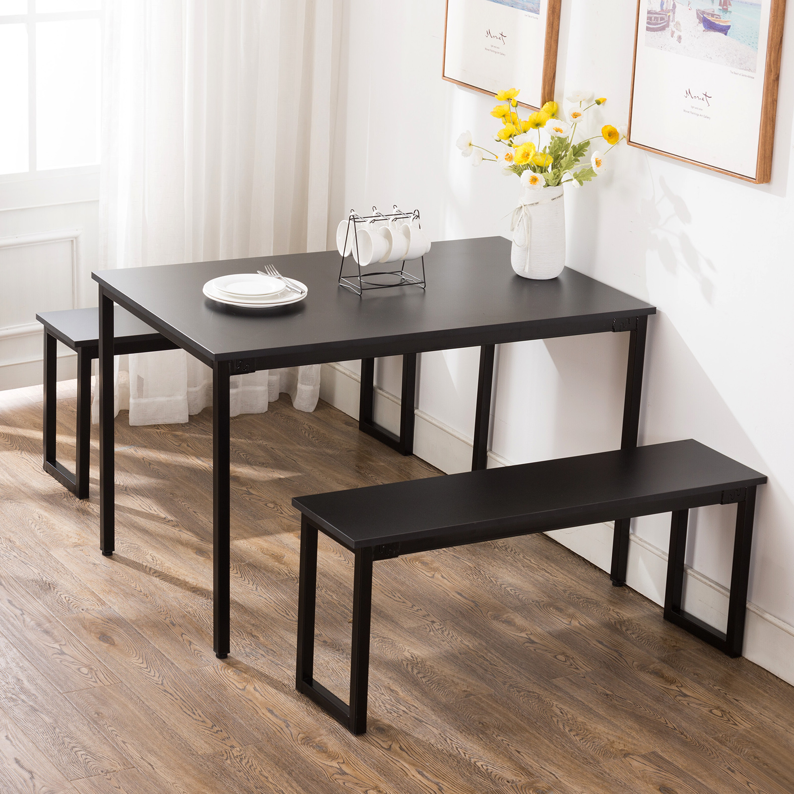 Dining Room Table With 2 Benches 2