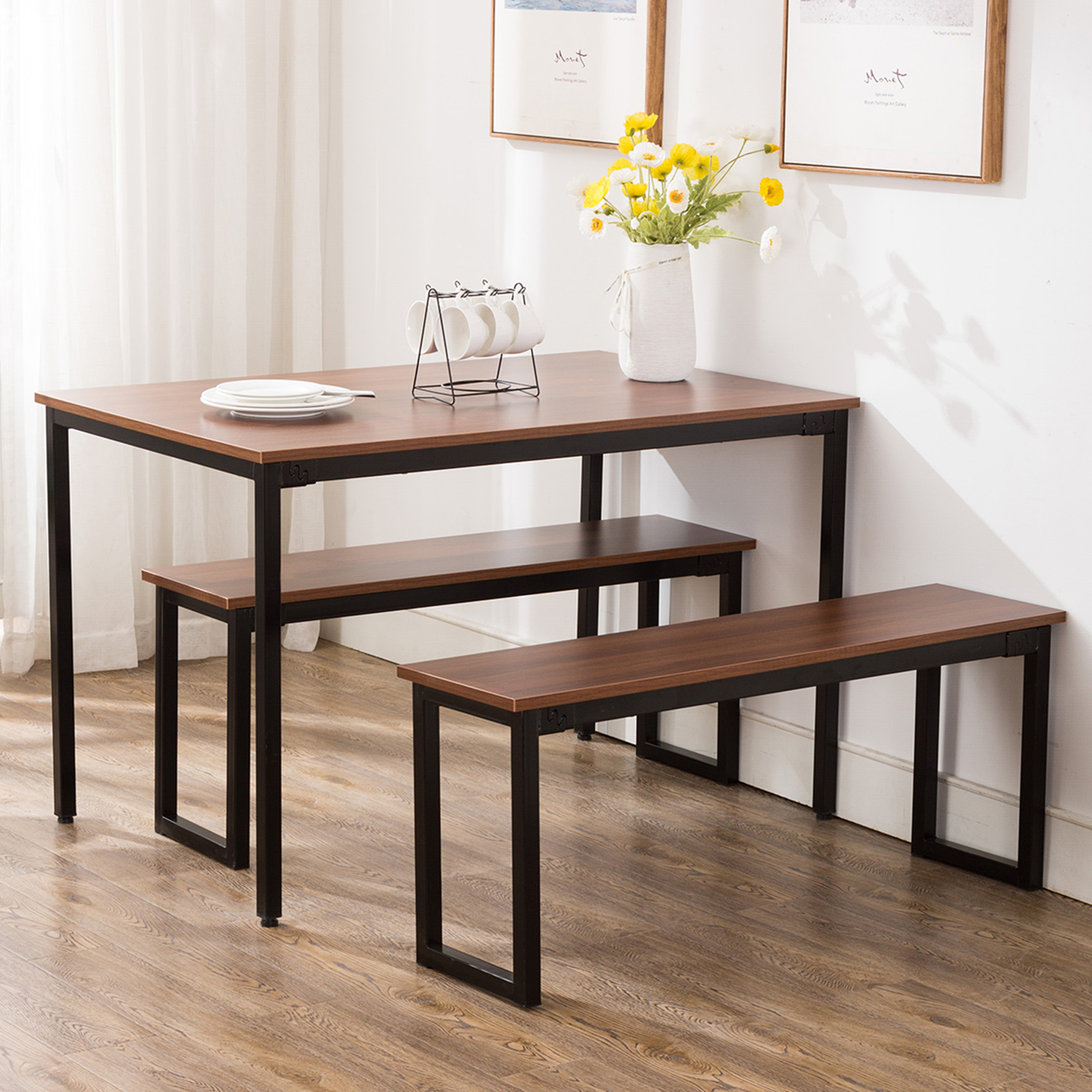Details about Retro Dining Set Breakfast Nook Table And 2 Benches  Rectangular Kitchen Room