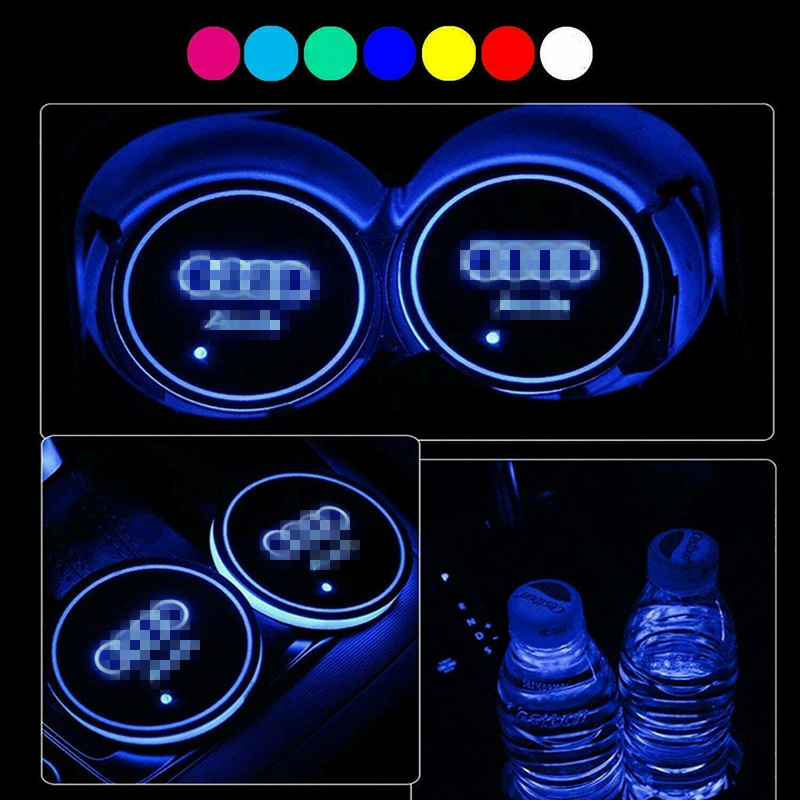 2PCS LED Car Cup Holder Pad Mat For LINCOLN Auto Atmosphere Lights Colorful