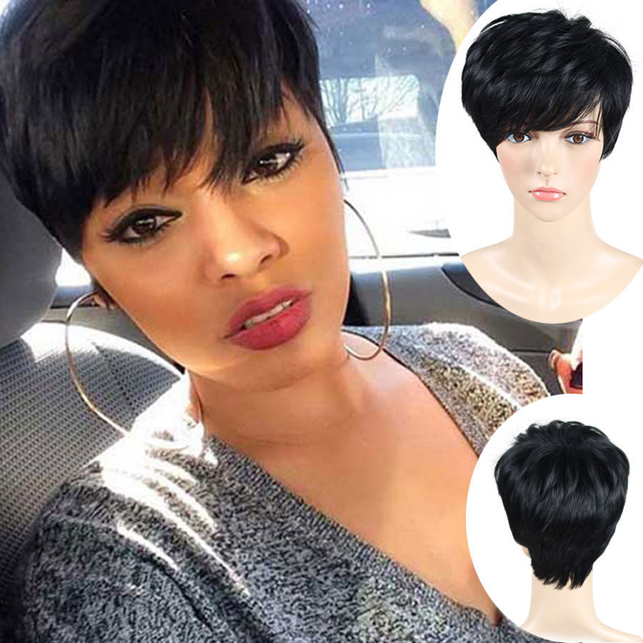 Details about Pixie Cut Wig Short Ladies Cosplay Party Straight Black Hair  + Wig Cap Trendy