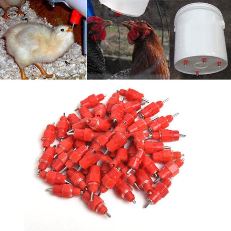 100Pcs New Hot Chicken Duck Hen Screw In Poultry Water Nipple Drinker Feeder