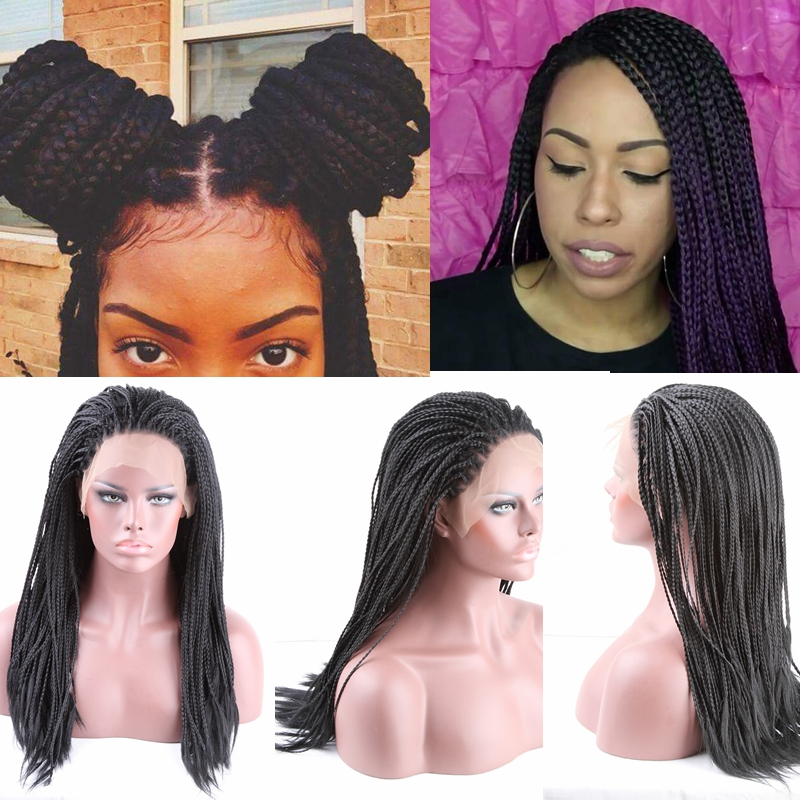 Details about Long African American Wigs Braids Lace Front Wig Black Hair  Wigs for Black Women c8ef45dd73