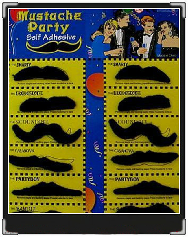 Fake Moustache Self adhesive Assorted  Mustache Set Fancy Dress Party Pack of 12