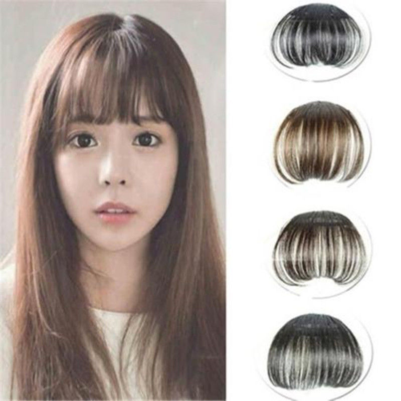 Details About As Real Human Hair Thin Neat Air Bangs Clip In Korean Fringe Front Hairpiece