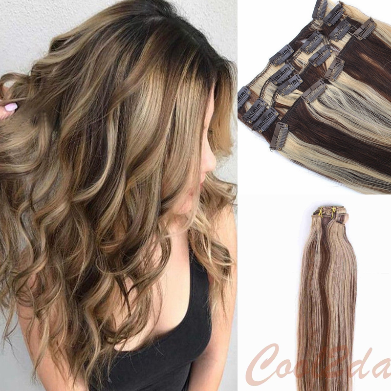 Clip In Skin Weft Remy Human Hair Extensions Balayage Dark Brown