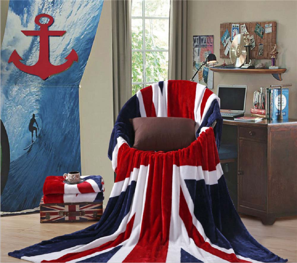 American British Flag Flannel Comfortable Travel Stripe Sofa Couch Cover Blanket