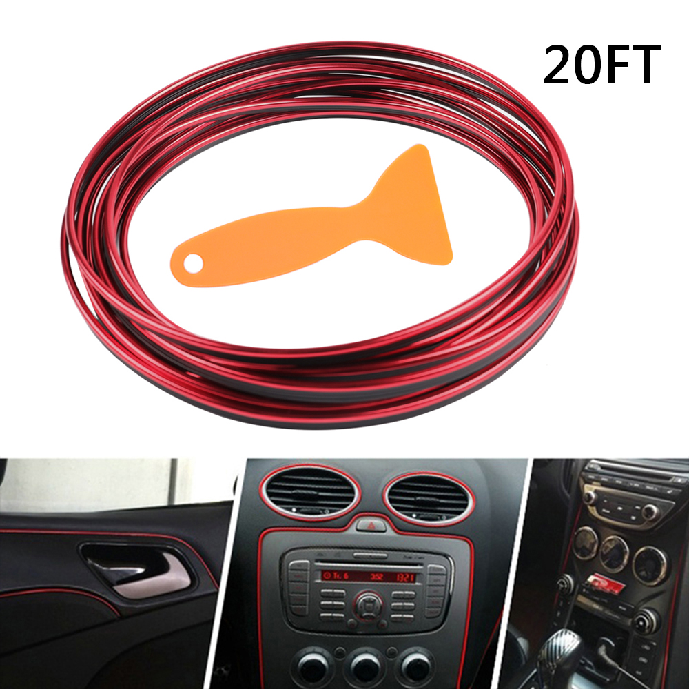 6M Red Car Interior Door Gap Edge Line Insert Molding Trim Strip Deco Accessory