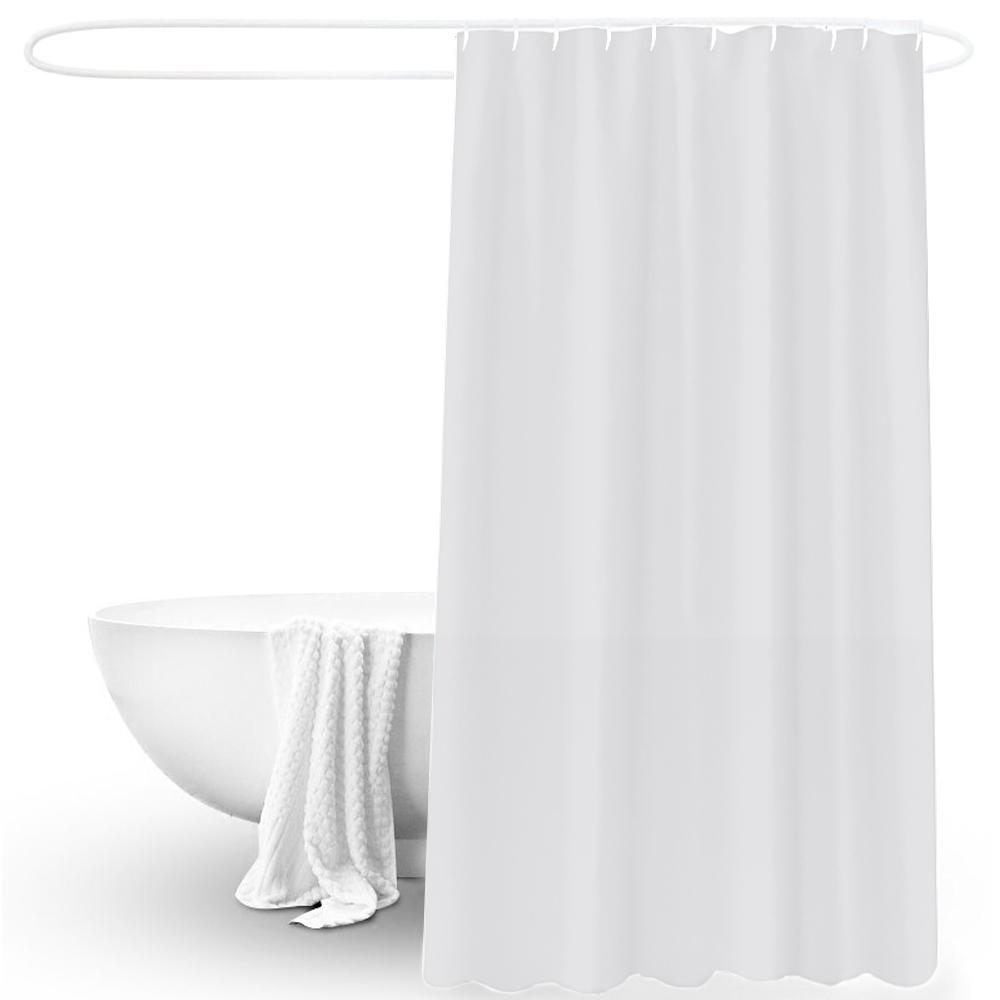 US Solid Waterproof Bathroom Shower Curtain Liner Mildew Free Hook Set 180x180cm