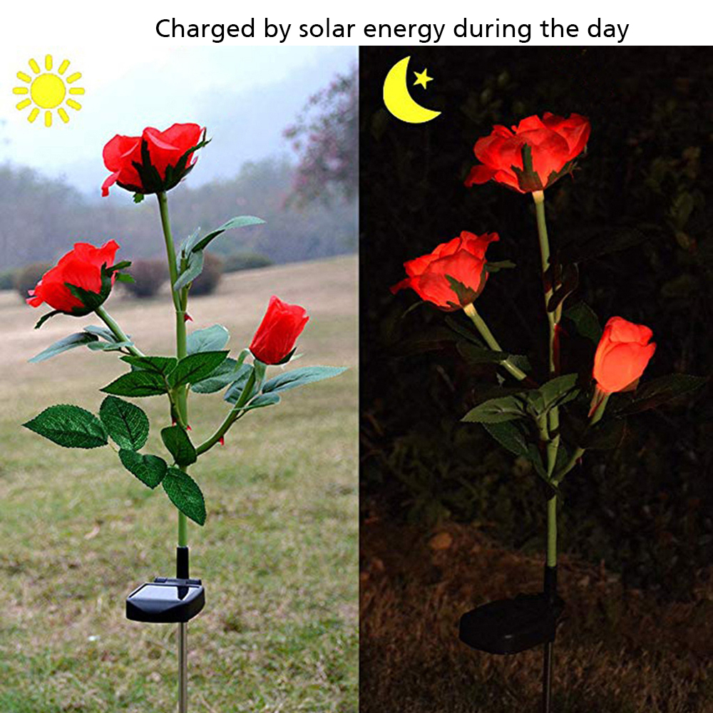 Outdoor Waterproof Solar Power Rose Flower LED Landscape Light Garden Stake Lamp