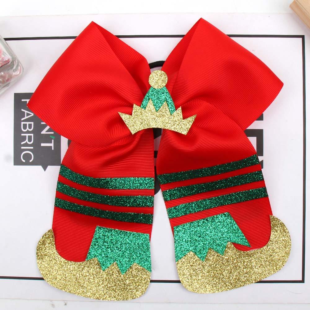 1x Girls Large Christmas Elf Hair Bow Accessories Dance Cheer Xmas