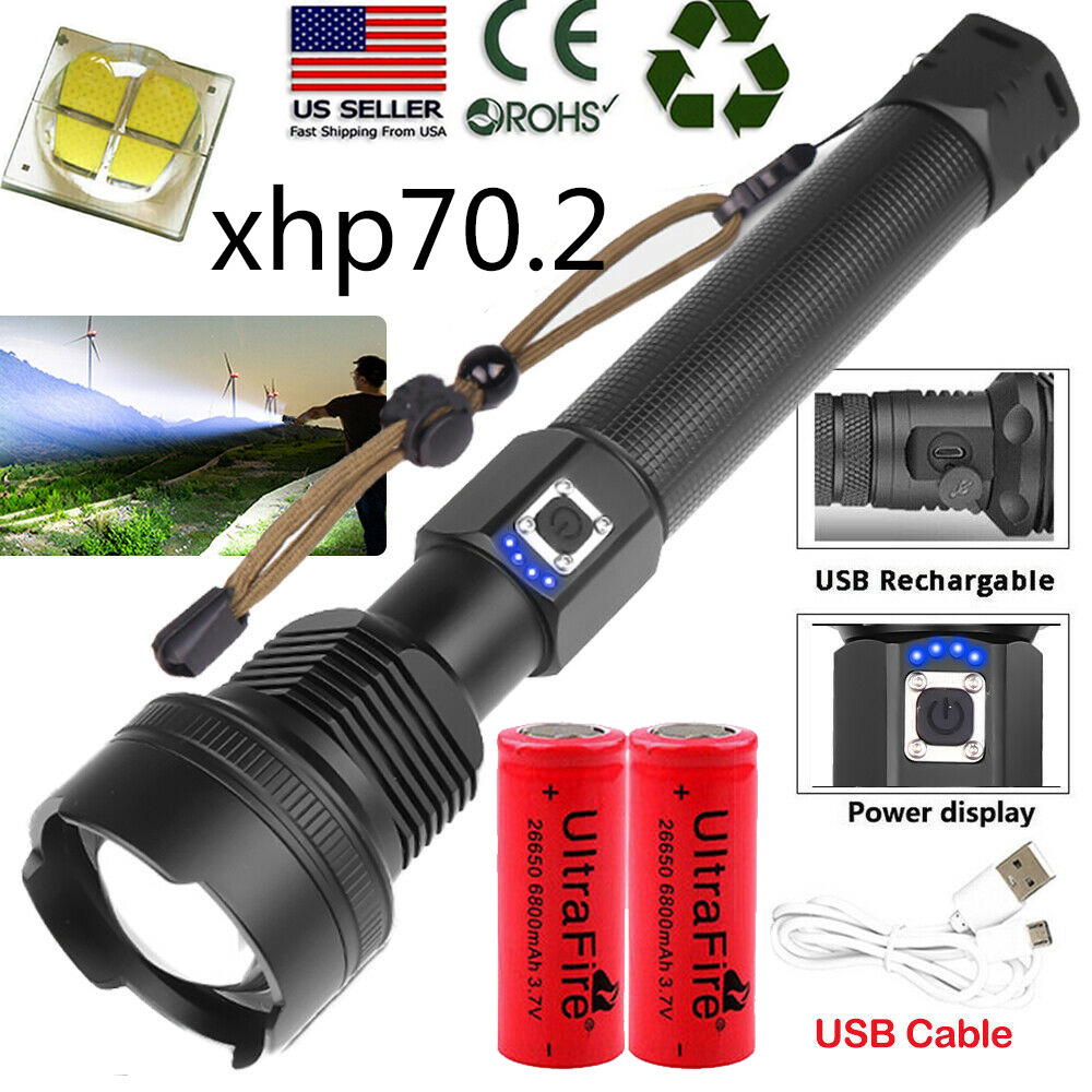 990000LM Zoomable XHP70 LED Super Bright USB Rechargeable 18650 26650 Flashlight