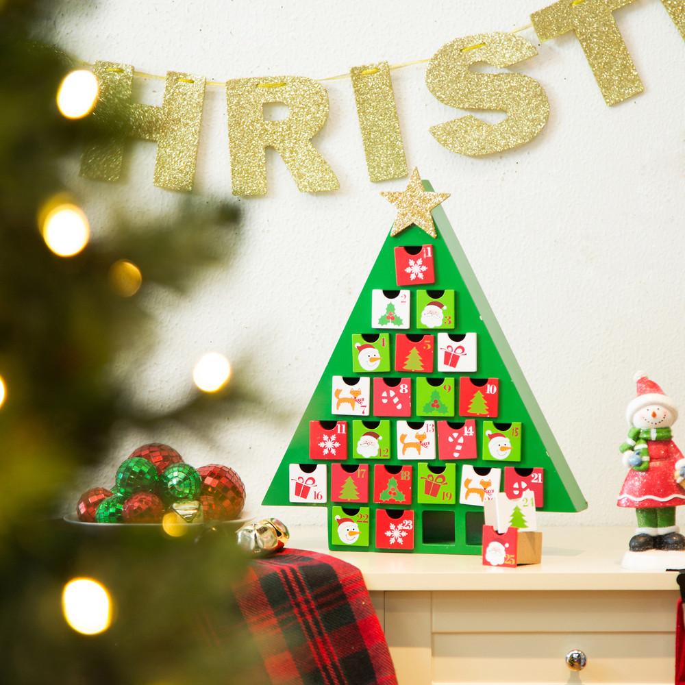Glitzhome Wood Green Christmas Tree Drawers Advent Calendar Xmas ...