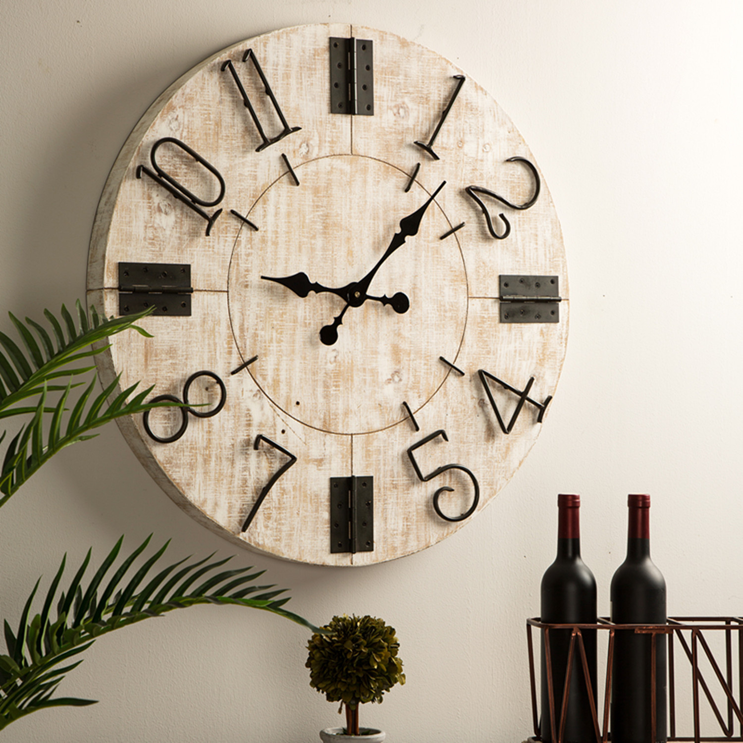 Details about glitzhome 28 rustic wooden large wall clock watch farmhouse style home decor