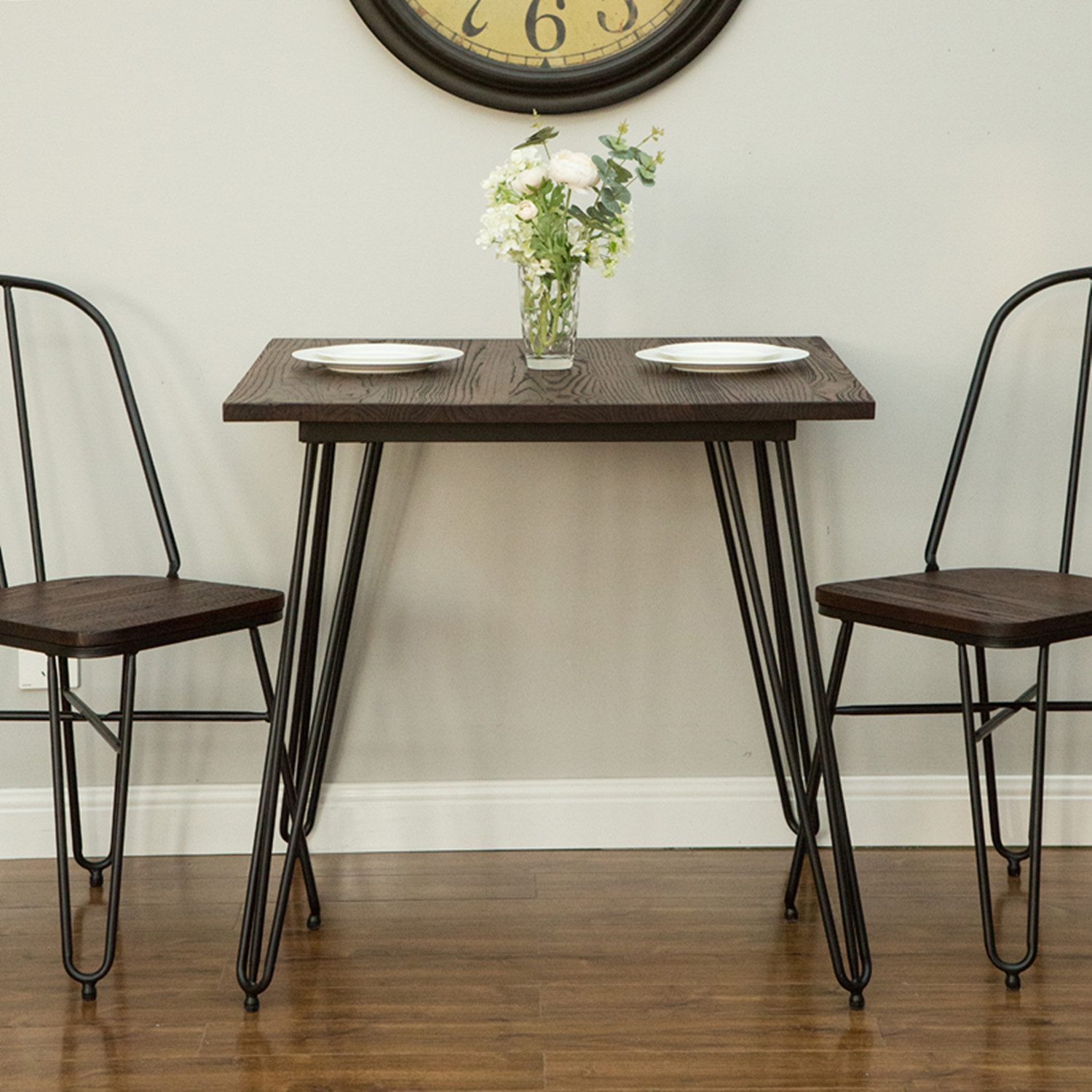 glitzhome metal home dining table with elm wood top indoor