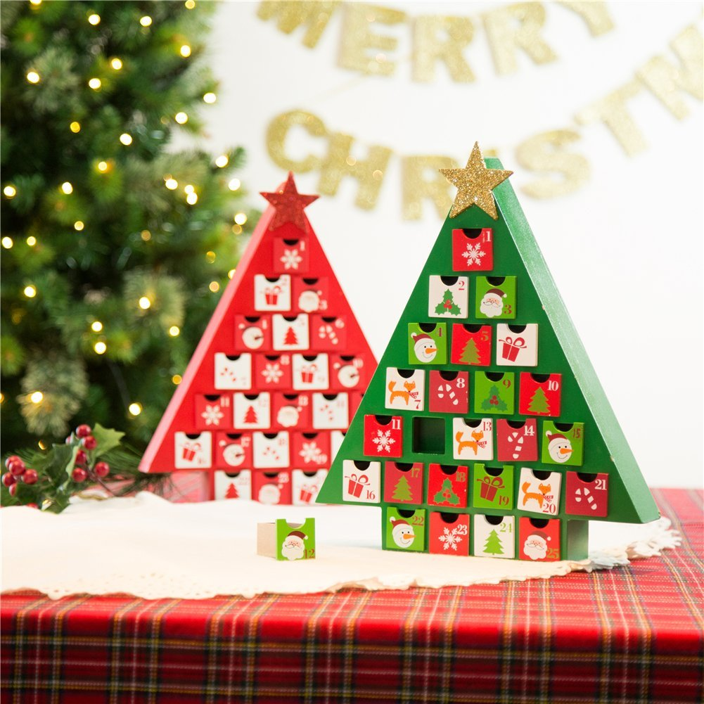 glitzhome wood santa drawers christmas tree advent calendar xmas countdown decor