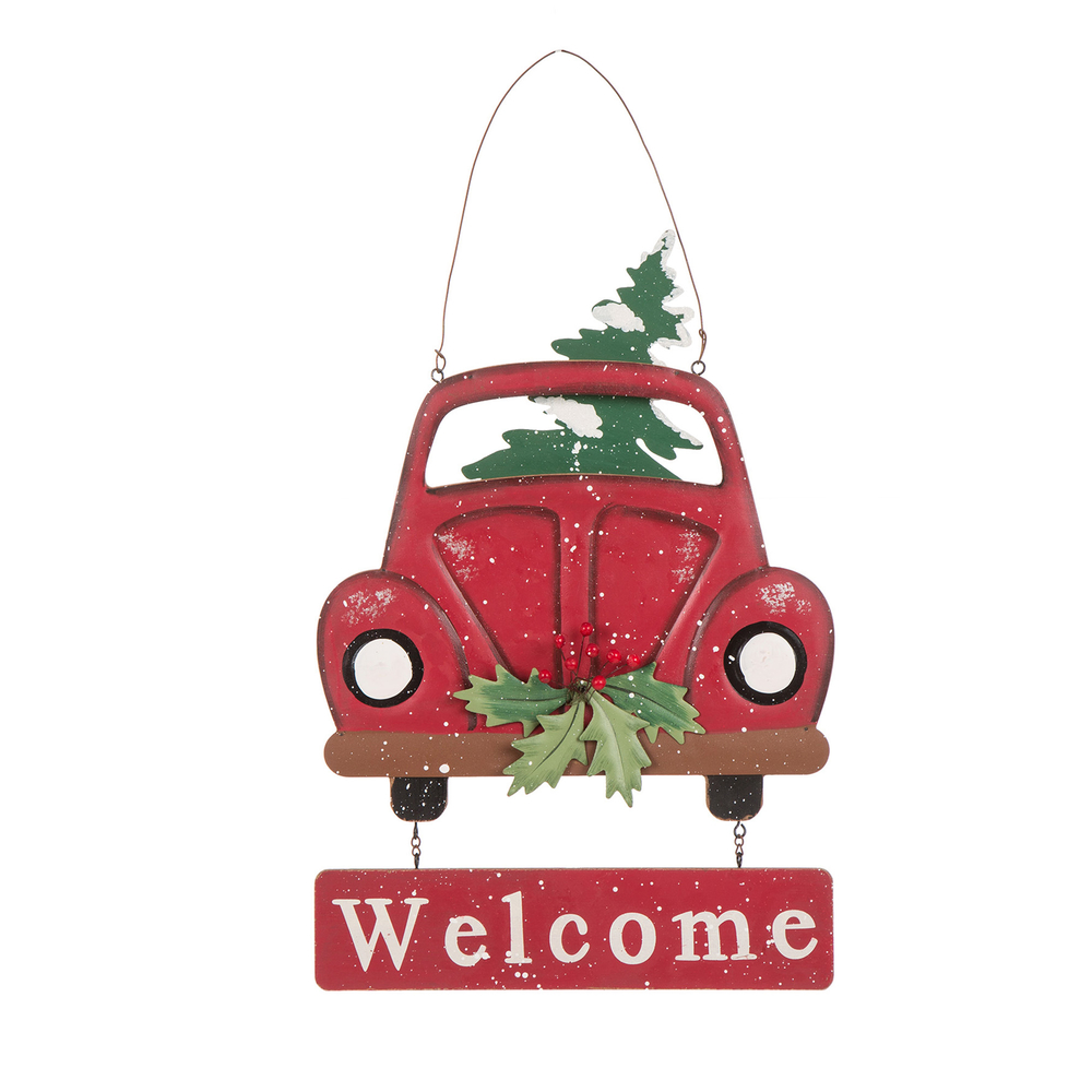 glitzhome wooden red truck welcome sign christmas wall door ornaments xmas decor