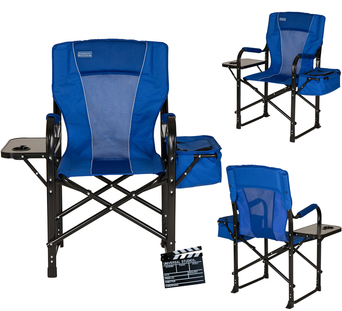 glitzhome metal directors chair camping travel folding side table
