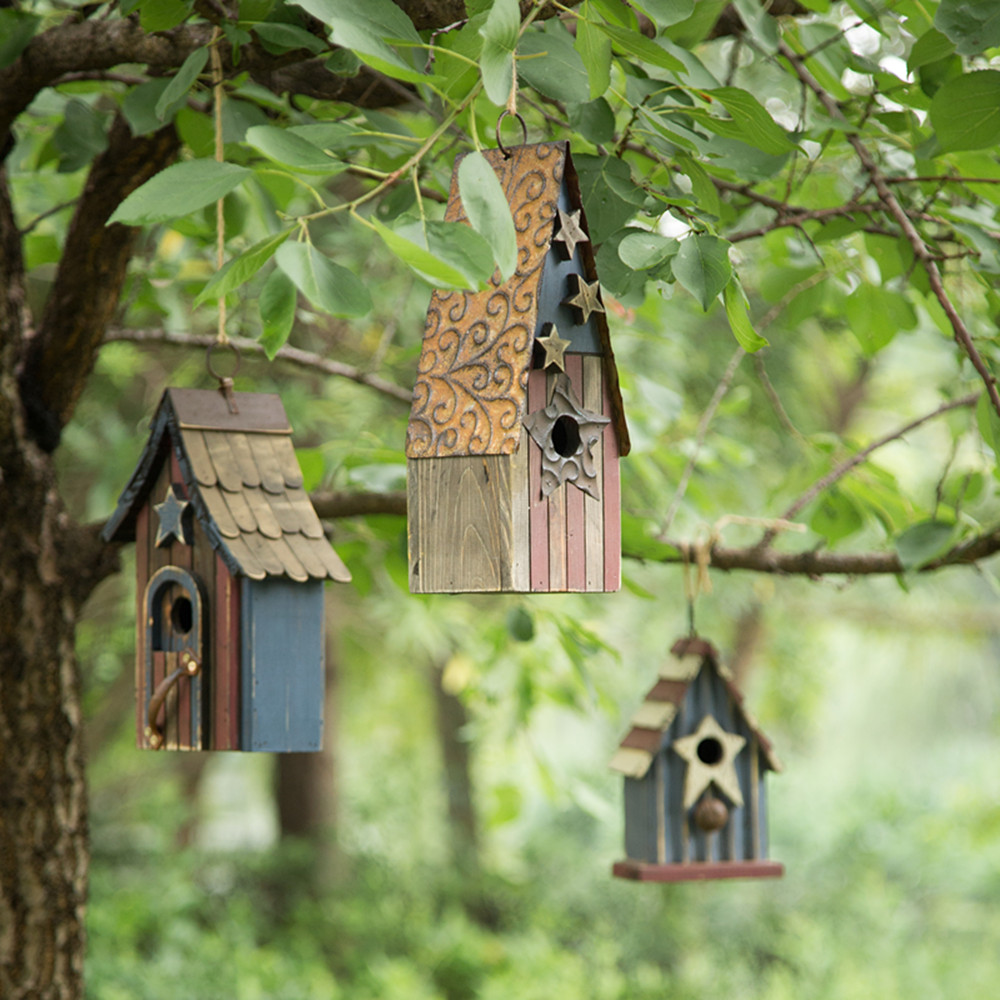 Glitzhome USA Patriotic Starsu0026Stripes Wooden Hanging Garden Birdhouses Bird  Cage