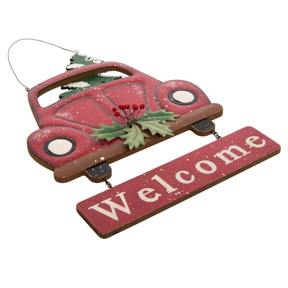 glitzhome wooden red truck welcome sign christmas wall door ornaments xmas decor - Red Truck Christmas Decor
