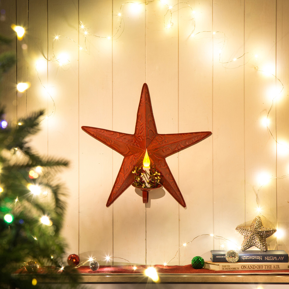 Glitzhome Iron Christmas Star LED Candle Light Wall Hanging Xmas ...