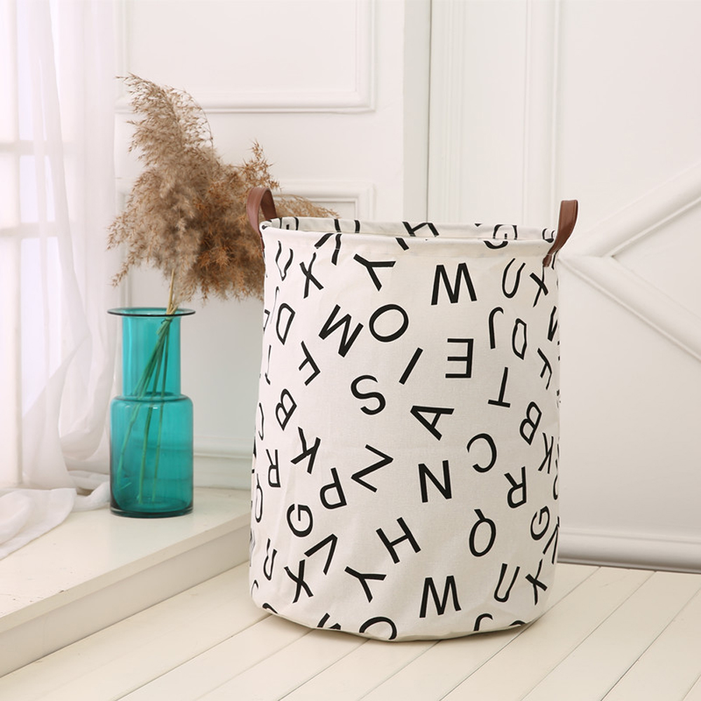Details About Kids Toy Storage Basket Canvas Laundry Bag With Handle Simplified Orgnizer